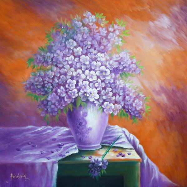 Tranh sơn dầu sắc tím